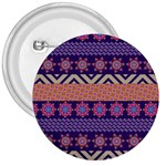 Colorful Winter Pattern 3  Buttons Front