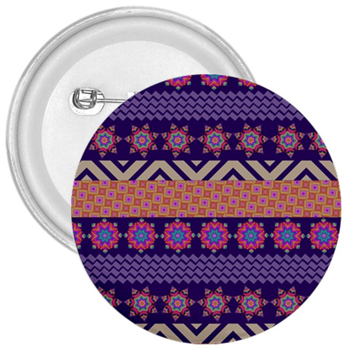 Colorful Winter Pattern 3  Buttons