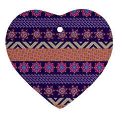 Colorful Winter Pattern Ornament (Heart)