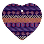 Colorful Winter Pattern Ornament (Heart)  Front
