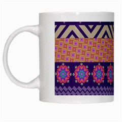 Colorful Winter Pattern White Mugs