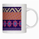 Colorful Winter Pattern White Mugs Right