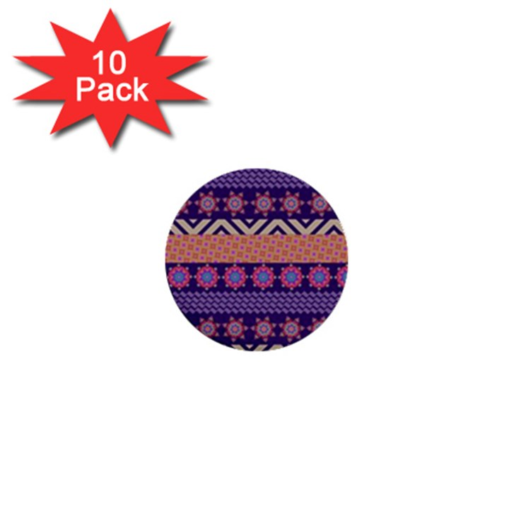 Colorful Winter Pattern 1  Mini Buttons (10 pack)