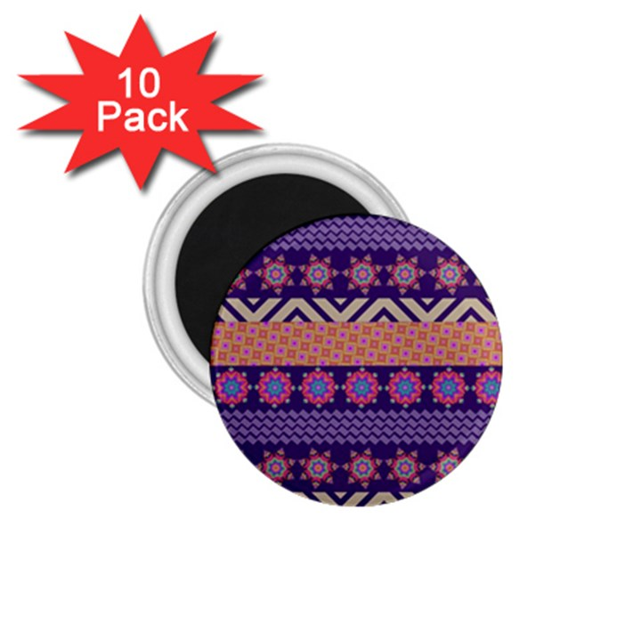 Colorful Winter Pattern 1.75  Magnets (10 pack)