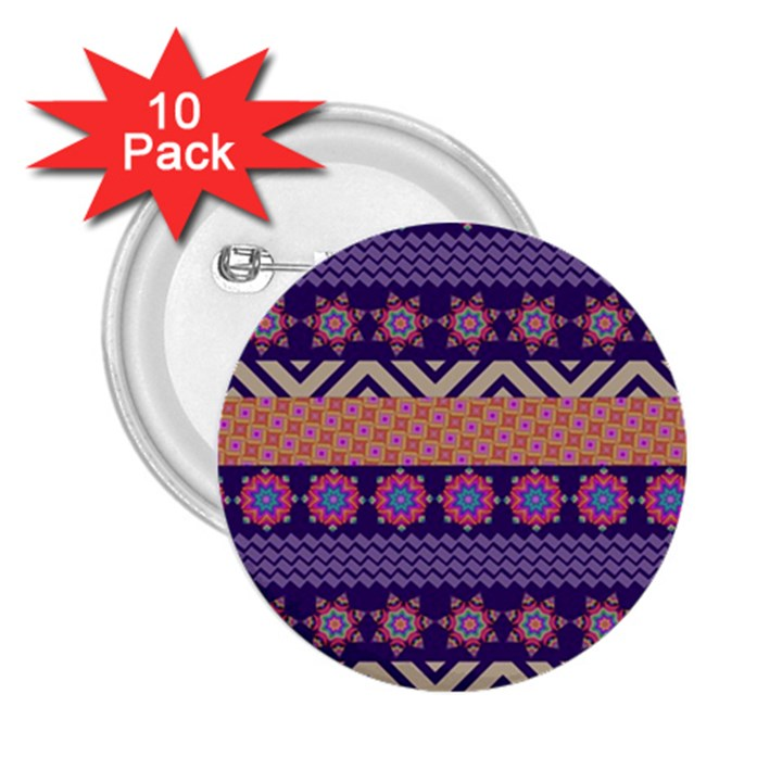 Colorful Winter Pattern 2.25  Buttons (10 pack)