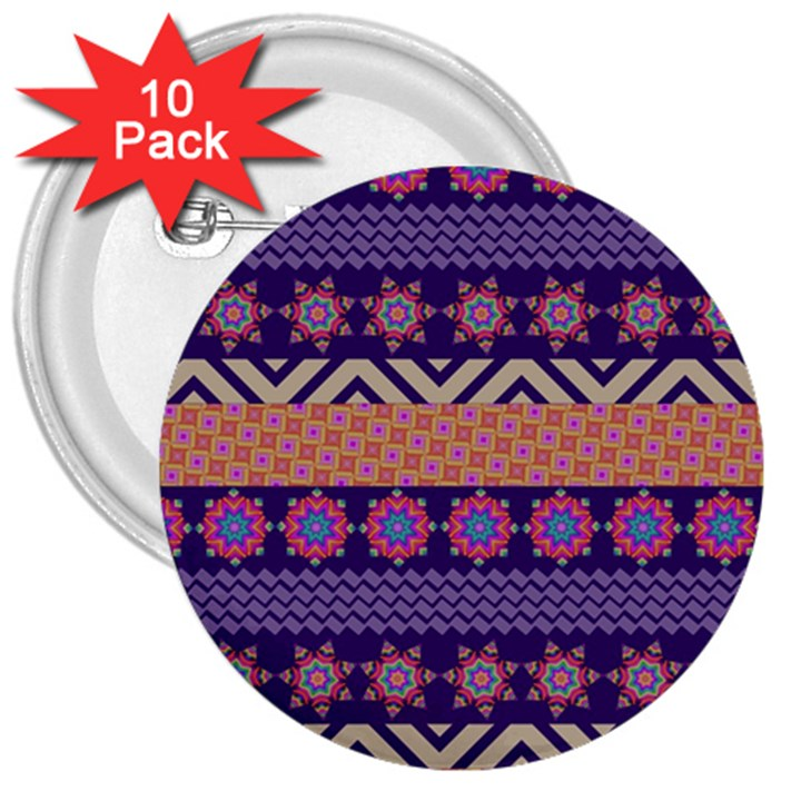 Colorful Winter Pattern 3  Buttons (10 pack)