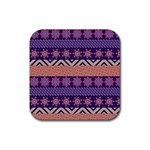 Colorful Winter Pattern Rubber Coaster (Square)  Front