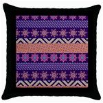 Colorful Winter Pattern Throw Pillow Case (Black) Front