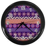 Colorful Winter Pattern Wall Clocks (Black) Front