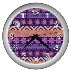 Colorful Winter Pattern Wall Clocks (Silver)