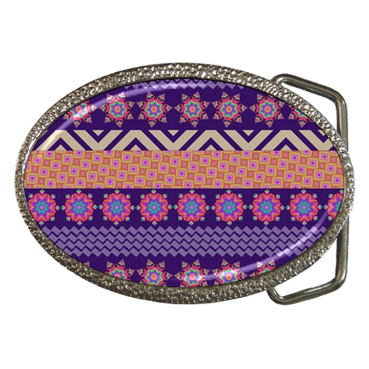Colorful Winter Pattern Belt Buckles