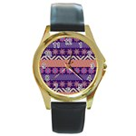 Colorful Winter Pattern Round Gold Metal Watch Front