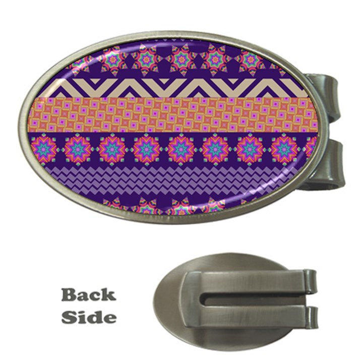 Colorful Winter Pattern Money Clips (Oval)