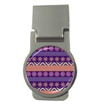 Colorful Winter Pattern Money Clips (Round)  Front