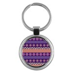 Colorful Winter Pattern Key Chains (Round)  Front