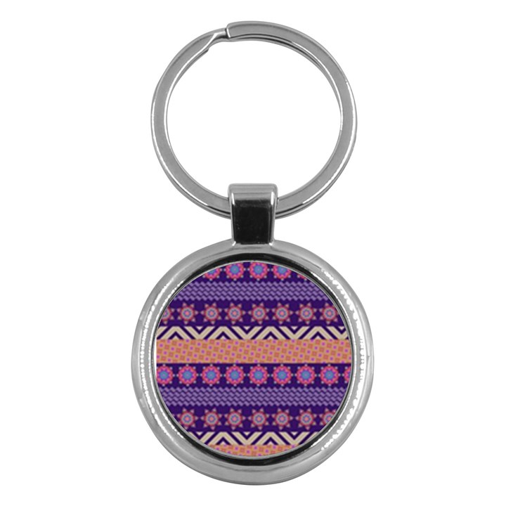 Colorful Winter Pattern Key Chains (Round)