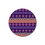 Colorful Winter Pattern Rubber Round Coaster (4 pack)  Front