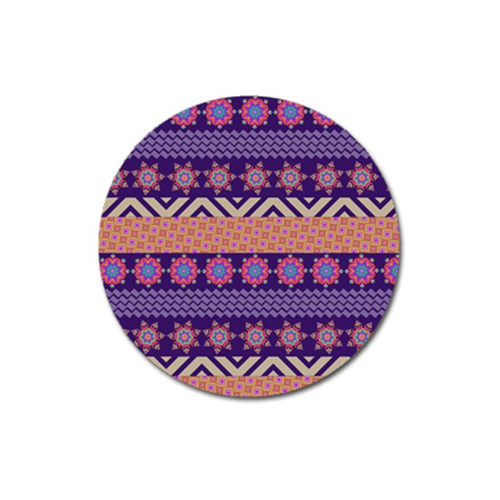 Colorful Winter Pattern Magnet 3  (Round)