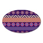 Colorful Winter Pattern Oval Magnet Front