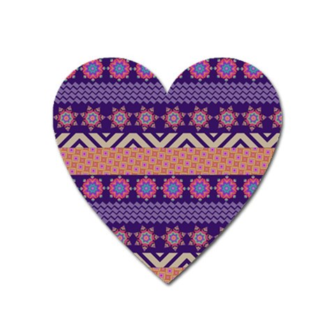 Colorful Winter Pattern Heart Magnet