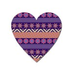 Colorful Winter Pattern Heart Magnet Front
