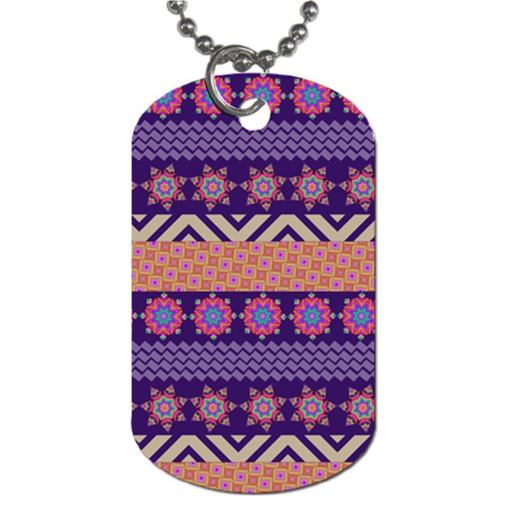 Colorful Winter Pattern Dog Tag (One Side)