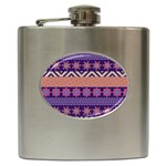 Colorful Winter Pattern Hip Flask (6 oz) Front