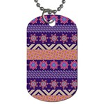 Colorful Winter Pattern Dog Tag (Two Sides) Front