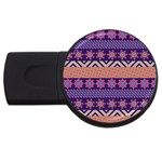 Colorful Winter Pattern USB Flash Drive Round (1 GB)  Front