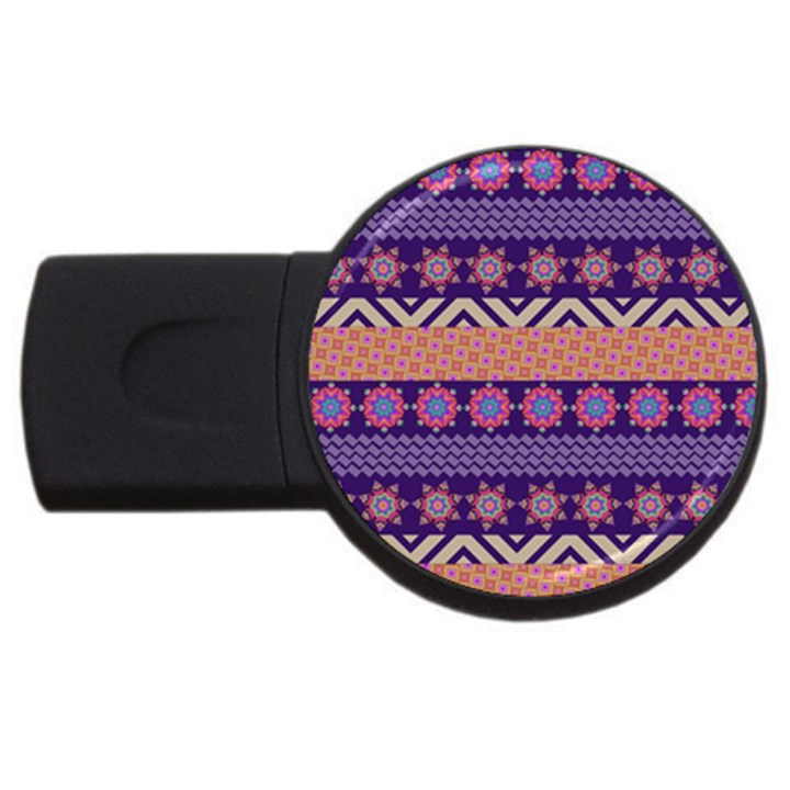 Colorful Winter Pattern USB Flash Drive Round (1 GB)