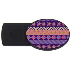 Colorful Winter Pattern Usb Flash Drive Oval (2 Gb)