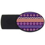 Colorful Winter Pattern USB Flash Drive Oval (1 GB)  Front