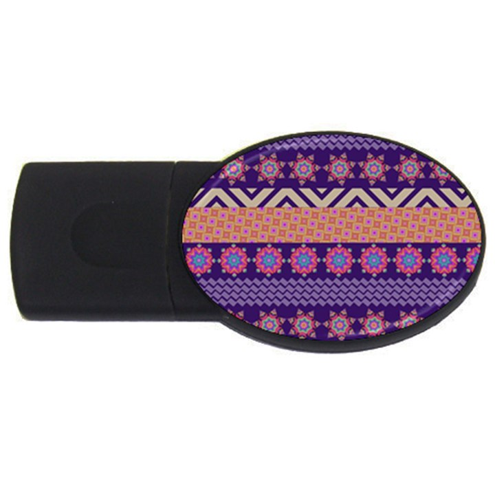 Colorful Winter Pattern USB Flash Drive Oval (1 GB)