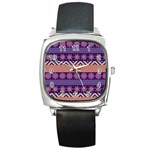 Colorful Winter Pattern Square Metal Watch Front