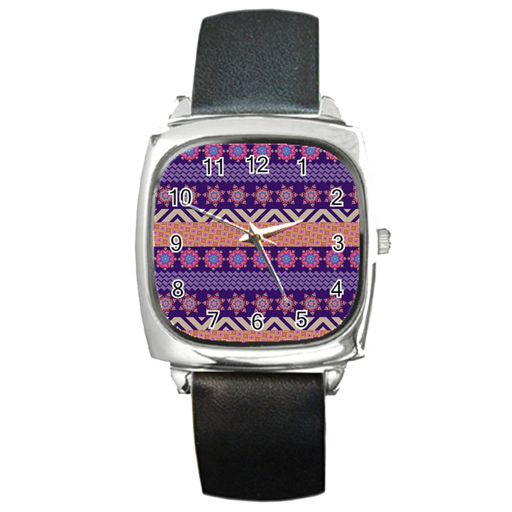 Colorful Winter Pattern Square Metal Watch