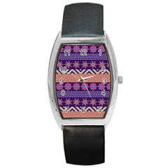 Colorful Winter Pattern Barrel Style Metal Watch