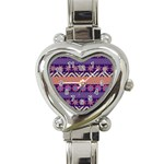 Colorful Winter Pattern Heart Italian Charm Watch Front