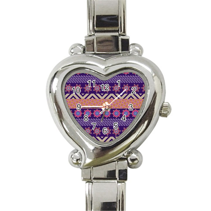 Colorful Winter Pattern Heart Italian Charm Watch
