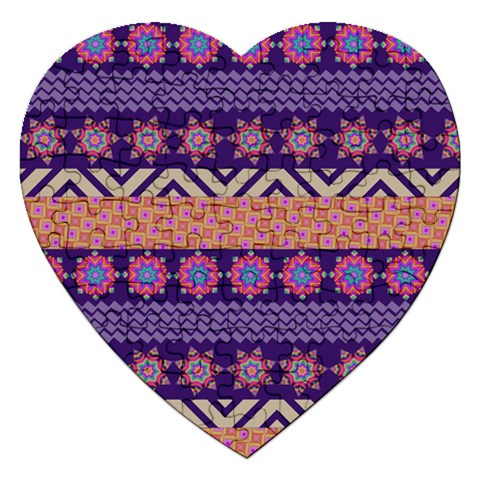 Colorful Winter Pattern Jigsaw Puzzle (Heart)