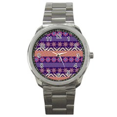 Colorful Winter Pattern Sport Metal Watch