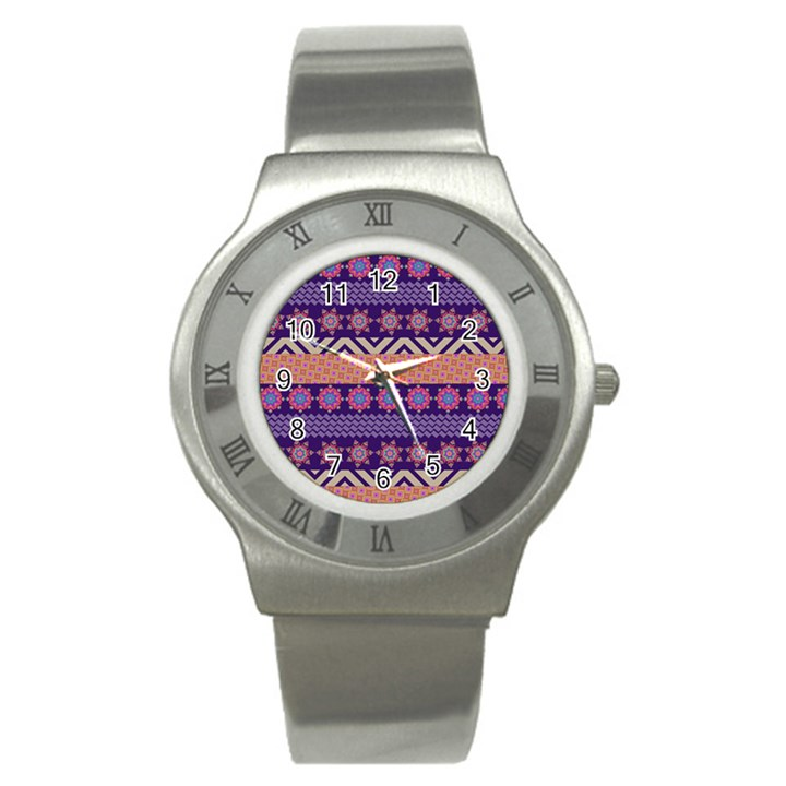 Colorful Winter Pattern Stainless Steel Watch