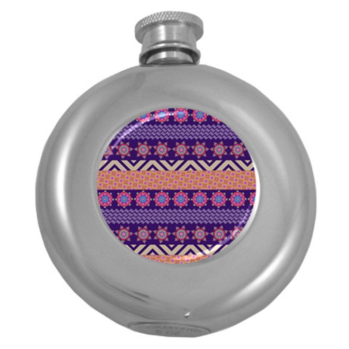Colorful Winter Pattern Round Hip Flask (5 oz)