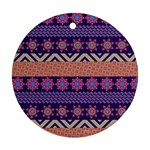 Colorful Winter Pattern Round Ornament (Two Sides)  Back