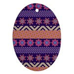 Colorful Winter Pattern Oval Ornament (Two Sides) Front