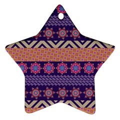 Colorful Winter Pattern Star Ornament (Two Sides)
