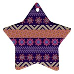 Colorful Winter Pattern Star Ornament (Two Sides)  Back