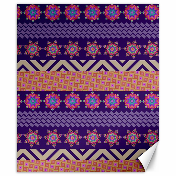 Colorful Winter Pattern Canvas 8  x 10