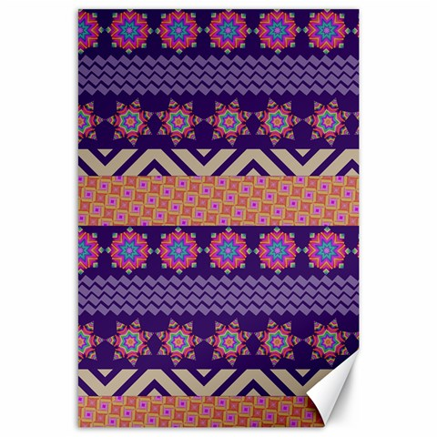 Colorful Winter Pattern Canvas 24  x 36