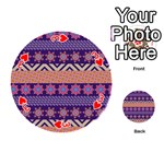 Colorful Winter Pattern Playing Cards 54 (Round)  Front - Heart3
