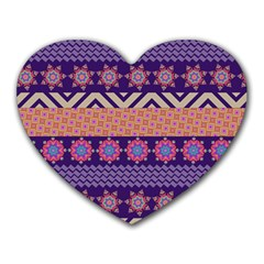 Colorful Winter Pattern Heart Mousepads